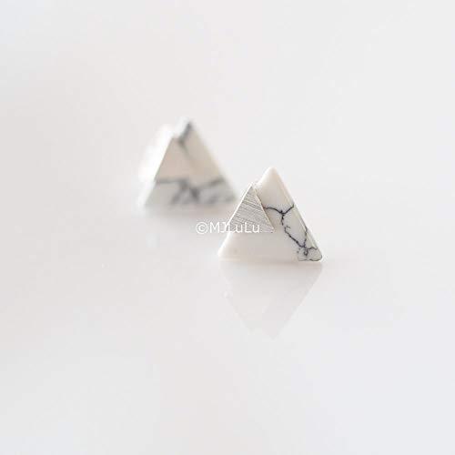 Silver Plated Chevron Triangle Geometric Marble Pattern Stud Earrings