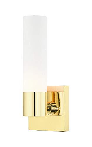 Livex Lighting 10101-02 Aero - One Light ADA Wall Sconce, Polished Brass Finish with Satin Opal White Twist Lock Glass