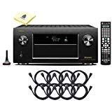 Denon AVR-X6400H 11.2CH 4K Ultra HD AV Receiver Cutting Edge Home Theater System Package with HEOS 3D Audio and Amazon Alexa Voice Control with 8 HDMI Cables and Zorro Sounds Receiver Polishing Cloth (Best Denon Av Receiver 2019)