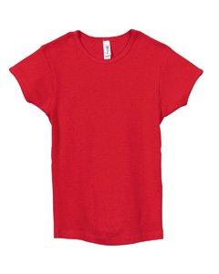 Bella Girls Short Sleeve 1x1 Rib Crewneck T-Shirt (Large, Red)