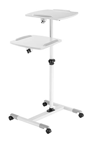 TechOrbits Rolling Projector and Laptop Stand – Height Adjustable Trolley Media Presentation Cart with Two Level Tray Shelves
