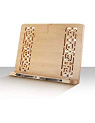 (CHEFHQ Cookbook Stand and Tablet Holder - Adjustable Bamboo Wood Bookstand with Page Holders - Easel Compatible with iPad Tablet - Recipe Book Rest for Kitchen Table Reading - Cook)
