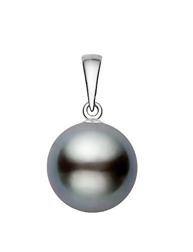 14K White Gold AAAA Quality Gray Tahitian Cultured Pearl Pendant (9-10mm)