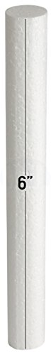White EPS Foam Rod Craft 1 in Diameter by MT Products (15 Pieces) (6 inch)
