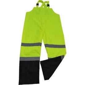 Petra Roc Waterproof Bib Pants, ANSI Class E, 300D Oxford/PU Coating, Lime/Black, 5XL (LBBIP-CE-5X)