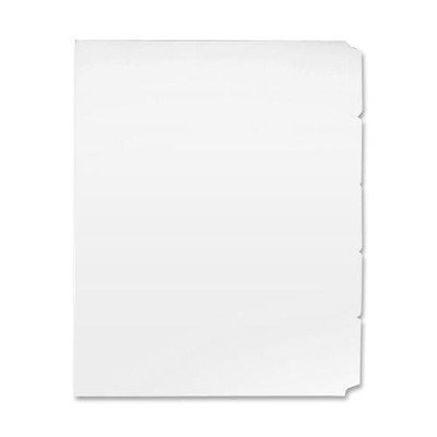 Sparco Single Reverse Collated Index Dividers - 5 x Tab - Blank - 8.50quot; x 11quot; - 50 / Box - White Divider - White Tab