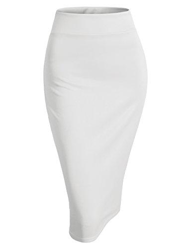 H2H Womens Basic Versatile Elastic Waist Band Office Pencil Skirt White XL (AWBMS0189) by H2H