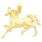 Clevereves 14K Yellow Gold 26.50X32.50 mm Horse Pendant
