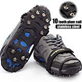 Crampons-10 Teeth Stainless Steel Anti Slip Ice Cleats,Micro Spikes Ice Snow Grips Traction Cleats System Safe Protect for Walking,Suitable for Walking on Ice,Jogging or Daily Life use. (Black, L)