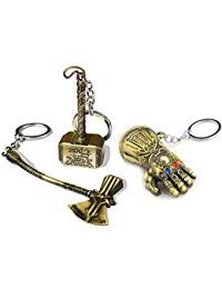 Sio & Tan Avengers Thanos Glove Keychain Thor Hammer Thor Axe Stormbreaker Key chain Key Ring(3 Pack Assorted) -