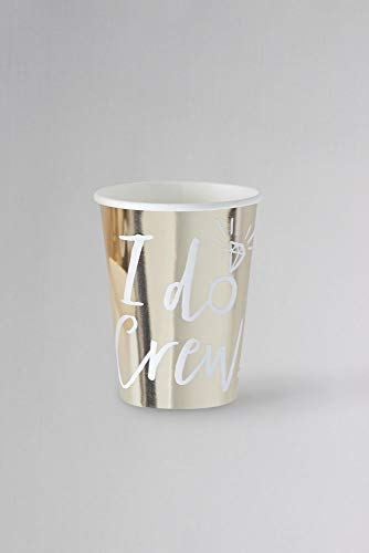 Ginger Ray Gold I Do Crew Cups Set of 8 Style ID-408, Gold ()