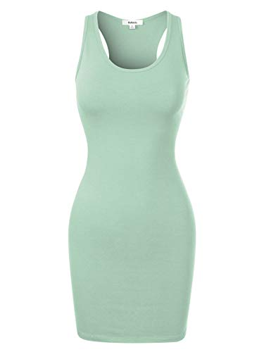 (MixMatchy Women's Fitted Sleeveless Sexy Body-Con Racer-Back Round Neck Mini Dress Dusty Mint S)