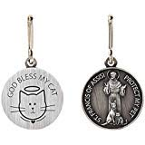 Silver Toned Saint Francis Protect My Pet Medal with God Bless My Cat Back, 1 ()