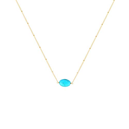 S.J JEWELRY Fremttly Womens Friendship Gift Handmade 14K Gold Filled/Rose Gold/Silver Plated Simple Delicate Bar Freshwater Pearls Chokers Necklace for Mothers Day-CK-Turquoise