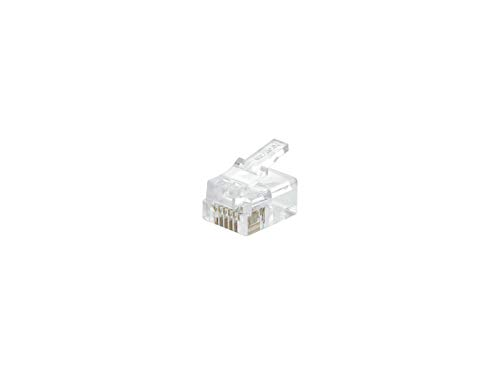 1 X RJ11/12 6P6C Modular Connector for Round Cable - 100 Pack
