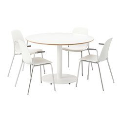 Ikea Table and 4 chairs, white, white 2204.11520.629