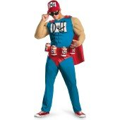 The Simpsons - Duffman Classic Muscle Adult Costume Become the cool and charismatic Duff Beer mascot in The Simpsons - Duffman Classic Muscle Adult Costume which includes a jumpsuit featuring a chiseled muscle chest, bright red cape, belt with attached be - Duff Beer Costume