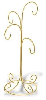Ornament Display Stand Holds Four Ornaments – Bright Gold Finish Set Of 2