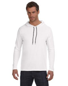 Anvil Ringspun Long-Sleeve Hooded T-Shirt, White/Dark Grey, Large