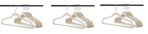 Home-it 319 Premium Velvet Heavy duty-50 Pack Non Slip Ivory Suit Clothes Hanger Hook Swivel 360-Ultra Thin (3-(Pack)) by Home-it (Image #1)