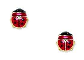 14k Yellow Gold Enamel Screw-Back Ladybug Earrings - Measures 6x5mm