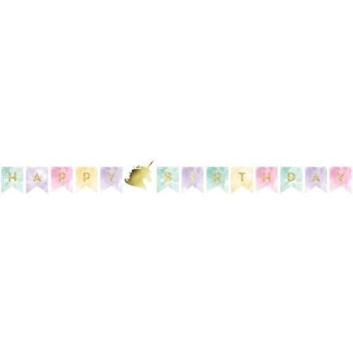 - hersrfv home Gold Unicorn Sparkle Happy Birthday Jointed Banner 5.5