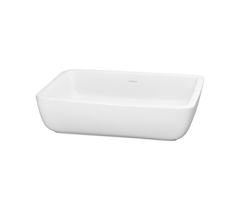 RONBOW Mod 18 Inch Rectangular Ceramic Vessel Bathroom Sink in White (Ronbow Counter)