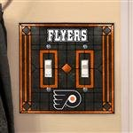 Memory Company Philadelphia Flyers Art Glass Double Light Switch Cover ()