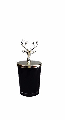 Effak Christmas Candle, Christmas Gift, Christmas Lucky Deer Candle With Lid, Home Candle, Meditation, Wedding, Winter Style, Glass Jar, Black by Effak