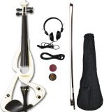 Crescent EV-WT Full Size 4/4 Electric Violin Starter Kit, White (Includes CrescentTM Digital E-Tuner) by Crescent