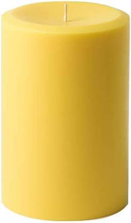 """Mister Candle - 4"""" x 6"""" Yellow Citronella Scented Pillar Candle - Hand Made with Solid Color - Indoor & Outdoor Use"""