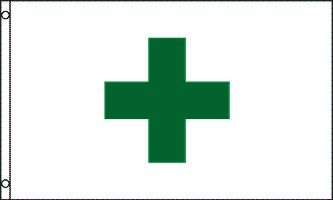 Green Cross 3x5 ft Polyester Flag