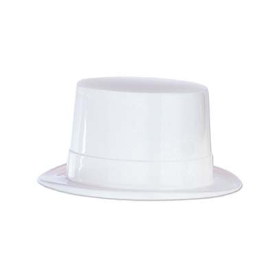 White Plastic Topper Party Accessory (1 count) (Top Plastic Hat)