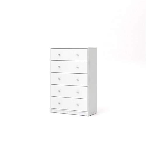 Levan Home Modern White Tall 5 Drawer Chest//Bedroom Dresser
