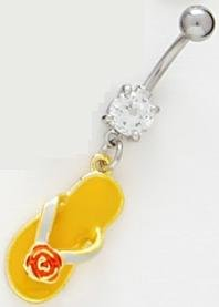 (Yellow Enamel Flip Flop Sandal Belly Button Navel Ring with Red Rose Flower Accented Thong)