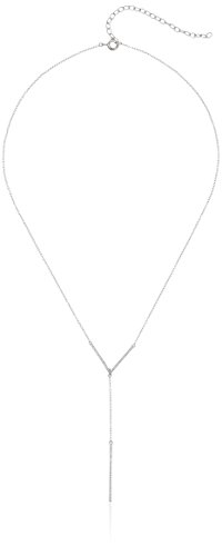 "Sterling Silver Cubic Zirconia Chevron Y-Necklace, 17"" + 3"" Extender"