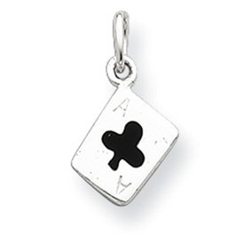 Sterling Silver Polished Enameled Ace Of Clubs Card ()