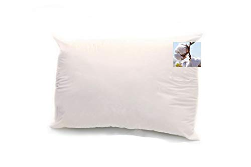 Organic Cotton Filled Pillows - OrganicTextiles 100% Organic Cotton Pillow (Standard Size, Heavy Filled) with Organic Cotton Filling and Cover Protector [GOTS Certified], Zippered Adjustable Pillow, Head-Neck Comfort Support