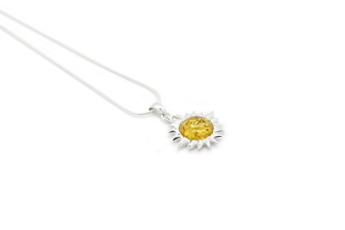 (Sterling Silver Sun Pendant Necklace with Genuine Baltic Honey Amber. Chain included)