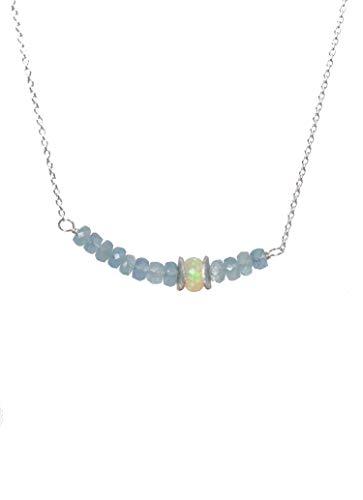 (Genuine Aquamarine Gemstone Bar Necklace Opal- Sterling Silver- March Birthstone-17