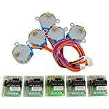 Zoefree 5 sets 28byj 48 ULN2003 5V Stepper Motor + ULN2003 Driver Board for Arduino