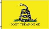 G128 Don't Tread on Me Flag Material Options- Embroidered, Polyester Printed (Polyester, 3 X 5 ()