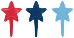 CLEARANCE FREE STANDARD SHIPPING - 24 Picks - Red Navy Light Blue Stars Cupcake Toppers with a Bonus Cupcake Tips Card - We Ship Within 1 Business Day! - Red Usually Ships