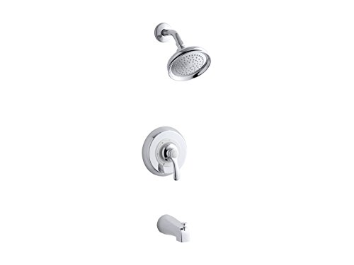 (Kohler TS12007-4S-CP K-TS12007-45-CP Fairfax Rite-Temp Bath and Shower Valve Trim with Lever Handle, Slip-fit spout and 2.5 gpm showerhead Polished Chrome)