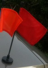 Red Car Flag - Red Car Flag with Black Magnetic Flag Pole