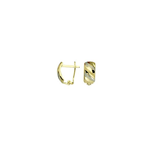 10k Yellow and White Gold Two-tone Diamond-cut Textured Clip Back Earrings by JewelryWeb