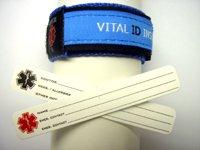 Childrens Medical Bracelets - Vital ID Adjustable Medical Bracelet Child (Blue)