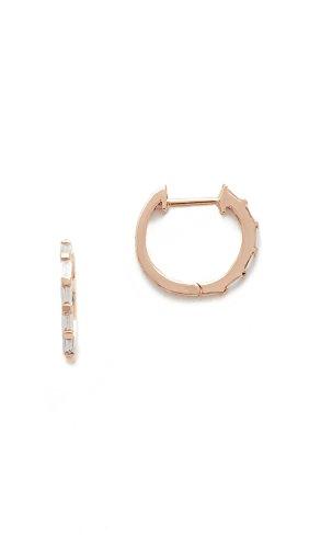 (Shay Women's 18k Rose Gold Mini Baguette Diamond Huggie Earrings, Rose Gold/White Diamond, One Size)