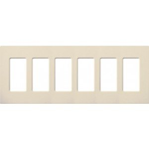 - Lutron CW-6-LA Electrical Wall Plate, Claro Decorator Screwless, 6-Gang - Light Almond-2PK