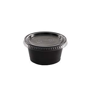 Disposable 2oz Black Plastic Condiment Cups with Lids 200-Pack, Sample Cup, Jello Shot Cups, Salad Dressing, Souffle Portion, Sampling (Black Plastic Souffle Cups)
